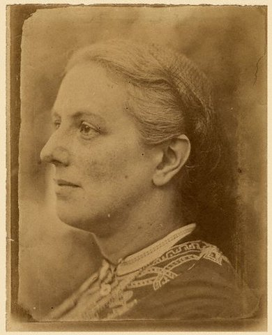 Charlotte Mary Yonge at 35, from a photo by her uncle, Revd Duke Yonge, and reproduced in Christabel Coleridge's 1903 biography (Macmillan, London).