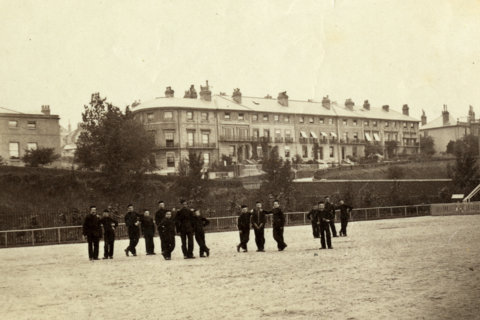 Clifton Terrace, Winchester, seen from the north-west corner of the Barracks in the late 1880s.Photo by William Savage, reproduced by permission of Winchester City Council Museums.